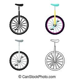スタイル, monocycle, illustration., シンボル, サーカス, 隔離された, バックグラウンド。, ベクトル, 白, アイコン, 漫画, 株