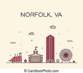 スタイル, norfolk, 線である, アメリカ, ヴァージニア, スカイライン, ベクトル