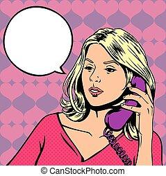 スタイル, pop-art, イラスト, 話し, ベクトル, 電話。, レトロ, スピーチ, 女の子, 泡, 空