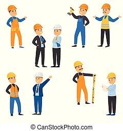 スタイル, raster, 建設, set., イラスト, サイト, 労働者, 漫画, 平ら