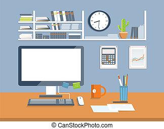 スタイル, room., オフィス, デザイン, 平ら, 内部
