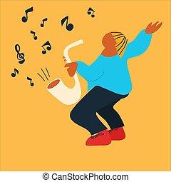 スタイル, sax, ベクトル, 遊び, プレーヤー, 作成, 抽象的, saxophone., 音楽家, イラスト, 平ら, performance., 通り