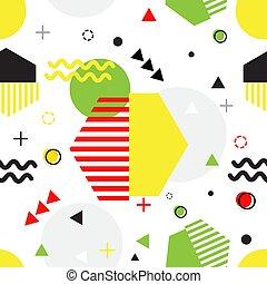 スタイル, seamless, イラスト, ベクトル, パターン, 最新流行である, 幾何学的, メンフィス