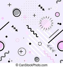 スタイル, seamless, パターン, ベクトル, 最新流行である, 幾何学的, メンフィス