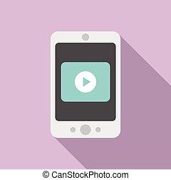 スタイル, smartphone, レッスン, アイコン, 平ら, ビデオ