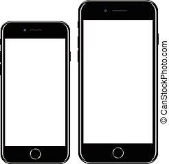 スタイル, smartphone, 電話, モビール, ブランド, 現実的, 黒, iphon, 新しい