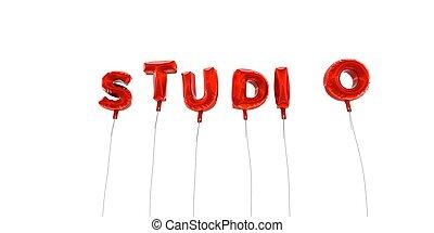 スタジオ, -, 単語, 作られた, から, 赤, ホイル, 風船, -, 3d, rendered.