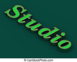スタジオ, -, 碑文, の, 金, 手紙