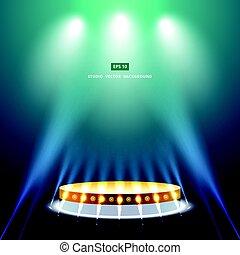 スタジオ, 金, 演壇, 緑の背景, 照明, ステージ
