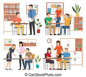 スタッフ, 一緒に, チームワーク, オフィス。, コミュニケートする, 仕事, businesspeople, 話し, 概念