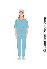 スタッフ, 地位, 医院, 看護婦, illustration., 幸せ, ユニフォーム, ベクトル, 微笑, 平ら, 従業員, ポーズを取る, 医者, 隔離された, 白, バックグラウンド。, 漫画, 女性の医者, 医学, 女