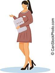 スタッフ, reviews., 管理, illustration., 品質, 平ら, 星, ホテル, 色, リゾート, マネージャー, badge., 白, 女性, 労働者, 背景, 特徴, personnel., 漫画, 評価, ベクトル, クライアント, 隔離された