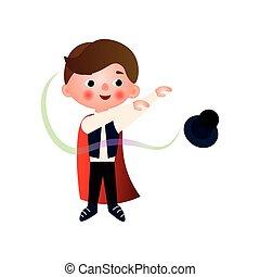 スタント, 彼の, リハーサルをする, 男の子, 若い, performance., 手品師, 衣類, magician., ハンサム