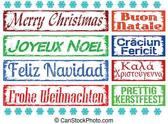 スタンプ, セット, クリスマス, 陽気