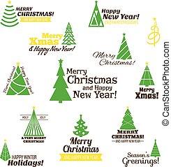 スタンプ, セット, 木, クリスマス