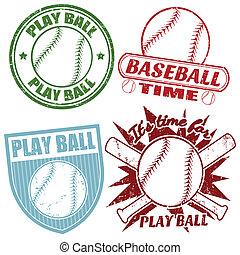 スタンプ, セット, 野球