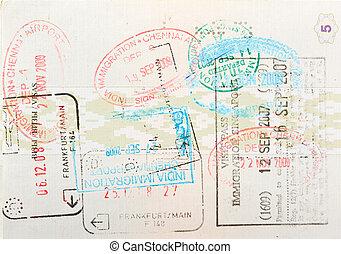 スタンプ, ページ, パスポート, 移住