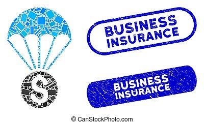 スタンプ, 長方形, コラージュ, 保険, 財政, パラシュート, textured, ビジネス