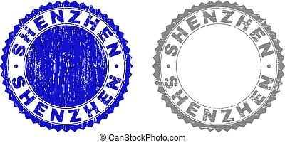 スタンプ, shenzhen, グランジ, textured