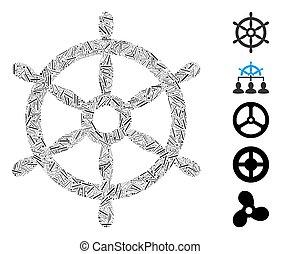 ステアリング, ボート, ダッシュ, 車輪, コラージュ