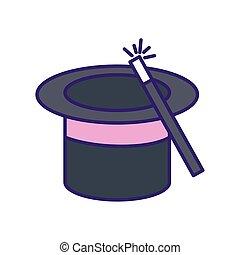 スティック, 隔離された, 帽子, ベクトル, マジック, デザイン