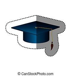 ステッカー, シルエット, 暗い 青, 卒業式帽子