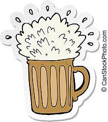ステッカー, ビール, 泡だらけ, 漫画