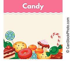 ステッカー, 背景, cakes., カラフルである, 甘いもの, キャンデー