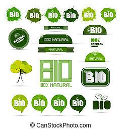 ステッカー, 自然, タグ, -, セット, プロダクト, ラベル, 緑, bio
