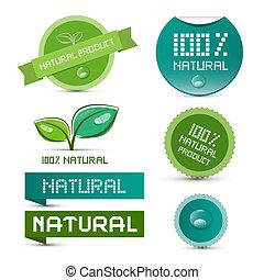 ステッカー, 自然, タグ, -, セット, ベクトル, プロダクト, ラベル, 緑