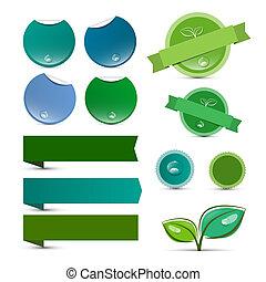 ステッカー, 自然, 空, タグ, -, セット, ベクトル, プロダクト, ラベル, 緑