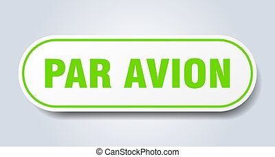 ステッカー, 隔離された, button., 印。, avion, 円形にされる, パー, 白