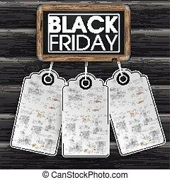 ステッカー, 黒板, 黒, 木, 金曜日, 価格