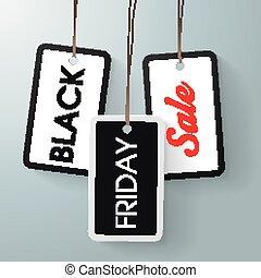 ステッカー, 黒, 3, 金曜日, 売出価格
