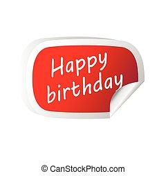 ステッカー, birthday, ベクトル, メッセージ, 赤, 幸せ