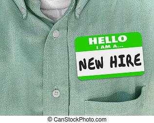 ステッカー, hire, 新しい従業員, 新人, 新たに, nametag, 緑, 才能, ワイシャツ