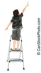 ステップはしご, 子供, の上, 手を伸ばす