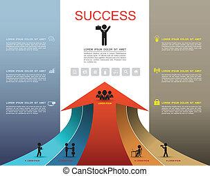 ステップ, オプション, の上, 成功, 矢