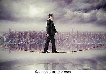 ステップ, ハンサム, 合成, 綱, ビジネスマン, イメージ