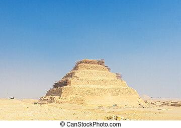 ステップ, ピラミッド, 最初に, djoser