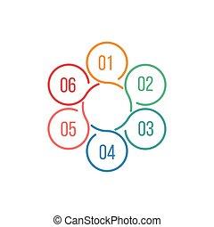 ステップ, ベクトル, テンプレート, 始動, 色, ビジネス 概念, infographic, プレゼンテーション, 部分, グラフ, 周期, processes., 渦巻, データ, 6, flower., chart., 円, 図, オプション, ラウンド
