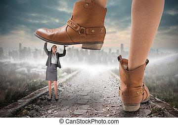 ステップ, 合成の イメージ, 女性実業家, カウボーイブーツ