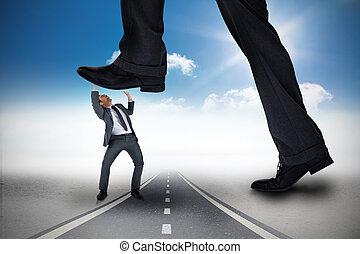 ステップ, 合成, ごく小さい, ビジネスマン, イメージ