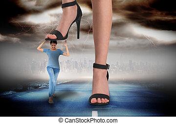 ステップ, 合成, 黒, フィート, 女性, 女の子, サンダル, イメージ