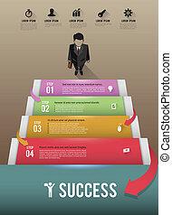 ステップ, 概念, 成功, ビジネス