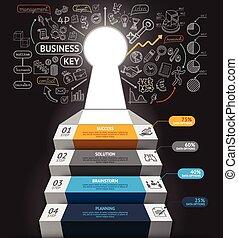 ステップ, 網, 使われた, 旗, 階段, ありなさい, ワークフロー, レイアウト, icons., デザイン, ビジネス, 図, infographics., infographic, 缶, キー, 概念, doodles, 穴, template.