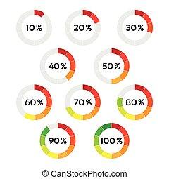 ステップ, 表示器, 白, 10, 進歩, 図, ベクトル, 10, 隔離された, あなた, パーセント, %, infographic, 背景, 円, 表示器, 色, セット, 100
