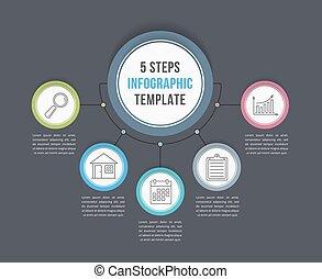 ステップ, infographic, 5, テンプレート