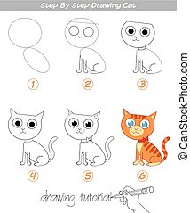 ステップ, tutorial., 図画, ねこ
