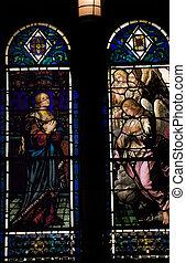 ステンドグラス, の, 天使, そして, 神聖, 女, 聖者, bartholomew\\\'s, 監督派の教会堂, 公園大通り, ニューヨーク市, ガラス, によって, hildreth, meiere, そして, 終えられた, 中に, 1920.